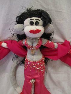 Cabaret Bellydance sock monkey - created by Raq'n Monkeys - https://www.facebook.com/raqn.monkeys/