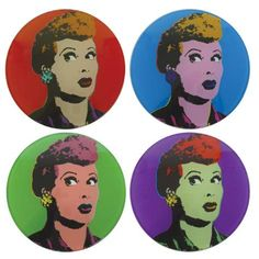 To complement the Pop Art drinking glasses and the wine glasses you will have this fabulous set of coasters to complete the look! I Love Lucy Pop Art Glass Coasters | LucyStore.com, $11.95