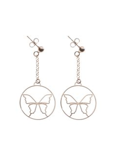 ORECCHINI CON FARFALLA  Orecchini in argento 925 bagnati in oro rosa con pendenti a forma di farfalle. Diametro pendente 25 mm.  Prices: $47.84