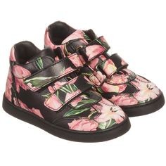 Dolce & Gabbana - Girls Black & Pink Tulip Print Leather Trainers   Childrensalon