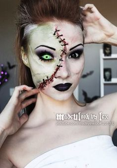 Piercing green eye and sewed skin patch makeup