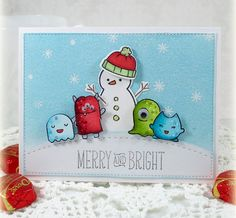 Lawn Fawn Monster Mash Christmas card