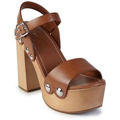 Prada Wooden-Heel Leather Platform Sandals (1.039.480 COP) ❤ liked on Polyvore featuring shoes, sandals, apparel & accessories, brandy, ankle strap platform sandals, ankle wrap sandals, ankle strap sandals, high heel sandals and leather shoes