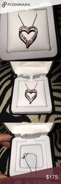 💥PRICE DROP💥 pink double heart necklace great condition. box included. Jewelry Necklaces