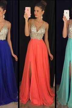 Sexy Beaded Slit Long Prom Dresses, Deep V neck 2017 prom Dresses, Long Evening Dresses, Long Evening Gowns, Formal Dress, Party Dresses Custom, CM1118
