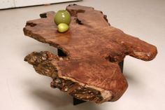 Redwood burl slab coffee table - salvaged from 100-years+ fallen redwood stumps