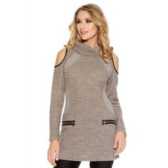Quiz Grey Roll Neck Cold Shoulder Tunic Dress | Debenhams