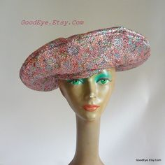 Vintage 60s Quirky Cocktail Beret Hat Avant Garde Tam Womens Evening Metallic Lurex RAINBOW Multicolor Sparkle by GoodEye on Etsy