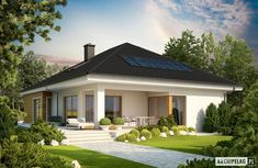 Bungalow with attic to adapt, basement and a garage for two cars – Amazing Architecture Magazine Bungalow Haus Design, Modern Bungalow House, Modern House Plans, House Design, Bungalow Designs, Modern Bungalow Exterior, Style At Home, Architecture Design, Amazing Architecture