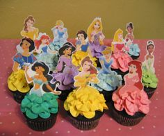 Disney Princess Birthday Cupcakes! Belle, Ariel, Jasmine, Snow White, Cinderella, Aurora, Tiana, Rapunzel! - Rubio's Cupcakes Princess Birthday Cupcakes, Disney Princess Birthday, Princess Party, Disney Castle Cake, Castle Cakes, Jasmine Party, 2nd Birthday Parties, Birthday Ideas, Princesas Disney