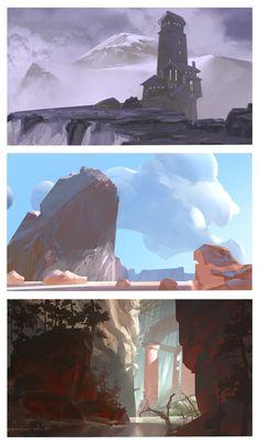 environment thumbnails, Markus Lenz on ArtStation at… Landscape Concept, Fantasy Landscape, Landscape Art, Fantasy Art, Environment Painting, Environment Design, Environment Sketch, Animation Background, Art Background