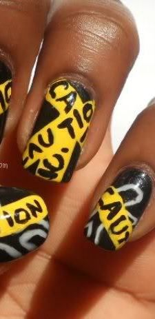 Caution Nail Art