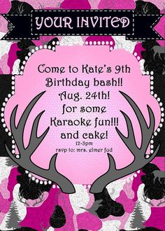 Pink Camo Birthday Party Invitation! JPEG 300 dpi Printable DIY! Hunting, Camouflage, Hunting, Pink, outdoor theme! on Etsy, $12.00