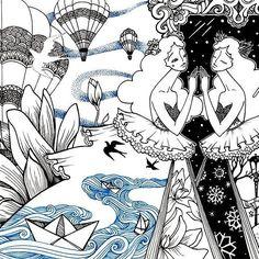 """Reflection"" 25x20, notebook,  liner pen drawing. 2016 by Azyza Dybovik (love the little paper boats)  ""Отражение"" 25х20, блокнот, линер. 2016г"