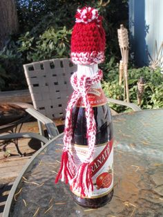 e8cb1fdb48f Hat and Scarf Wine Bottle Topper for Gift Wrapping by Spasojevich
