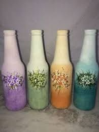 Resultado de imagen para how to fabric decoupage wine bottle Recycled Glass Bottles, Glass Bottle Crafts, Wine Bottle Art, Wine Cork Crafts, Painted Wine Bottles, Diy Bottle, Vintage Bottles, Bottles And Jars, Glass Jars