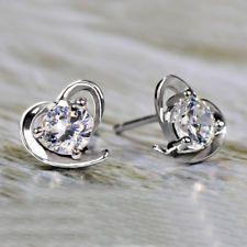 Women Fashion Jewelry Elegant Rhinestone Crystal Ear Stud Earrings Lady Heart