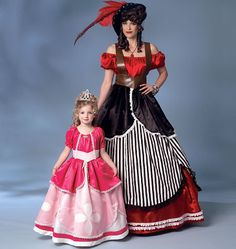 Butterick B6113 Pirate Princess or Princess Gown Cosplay Costume Sewing Pattern Size Kids 3-4, 5-6, 7-8