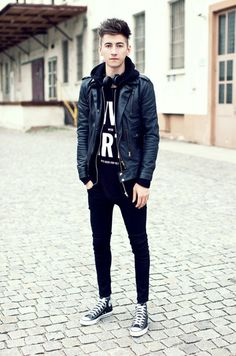 Black jeans, jacket, and screen tee with converse