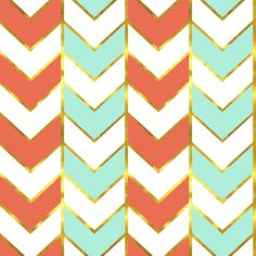 Gold Chevron Fabric -Gilded Herringbone In Bright Coral And Mint By Willowlanetextiles- Pink Blue Cotton Fabric By The Yard With Spoonflower by Spoonflower on Etsy https://www.etsy.com/listing/499402884/gold-chevron-fabric-gilded-herringbone