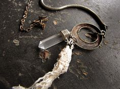 ghost stone  salvage crystal necklace  clear by sparrowsalvage