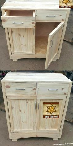 Wooden Pallet Furniture Easy And Attractive Diy Wooden Pallet Cabinet Pallet Furniture Shelves, Pallet Cabinet, Reclaimed Wood Furniture, Rustic Furniture, Diy Furniture, Garden Furniture, Inexpensive Furniture, Furniture Removal, Furniture Chairs