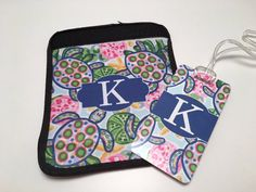 Lilly Pulitzer Inspired Luggage Tag and Handle Wrap Set by TheInspiredStudio on Etsy https://www.etsy.com/listing/293626037/lilly-pulitzer-inspired-luggage-tag-and