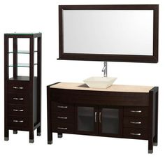 "Wyndham Collection Daytona 60"" Bathroom Vanity with Vessel Sink, Mirror and Cabinet - Espresso"