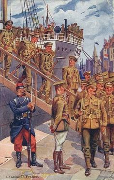 British Expeditionary Forces arriving in France, 1914