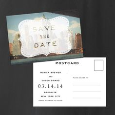 Vintage Postcard Save the Date  The Skyline View  by inoroutmedia, $2.90