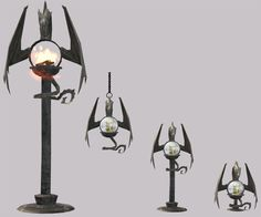 Dragon lamps based on a lamp from The Sims Medieval.