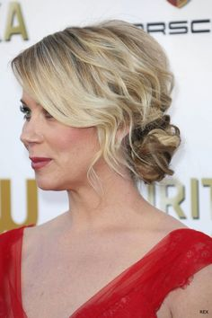 We love a romantic, soft updo for special occasions, whether it's a chic side bun or something more adventurous. Christina Applegate's style at the critics choice gives simple style a real romance thanks to the texture and wave. Add some salt spray to your hair before styling to create loose, beachy texture that will elevate your updo.