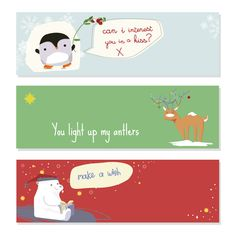 Set of 03 Cute Merry Christmas Banner Vector