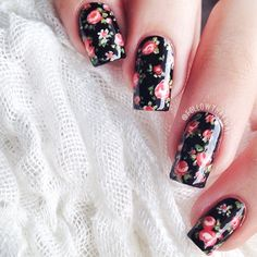 Black and Red Floral Rose Nails