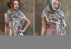 Women scarf Hand painted Wings and feathers on White by Shovava, $48.00