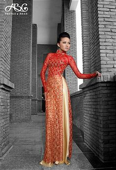 Vietnamese traditional red + gold gown (abc ao dai)