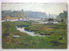 GEORGE AUGUSTA (AMERICAN, 1922-2012) UNSIGNED O/B SEACOAST LANDSCAPE INLET/BOATS #Postimpressionism