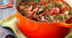 Feed your group with this hearty soup! Recipe: Chicken and Sausage Gumbo Entree Recipes, Soup Recipes, Cooking Recipes, Family Recipes, Dinner Recipes, Cooking For A Group, Sausage Gumbo, Cooking White Rice, Creole Recipes