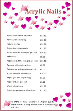 Price List Nail Salon Prices Acrylic Nails Gel