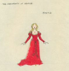 The Merchant of Venice (Portia). Shakespeare in the Park and Broadway. Costume design by Jess Goldstein.