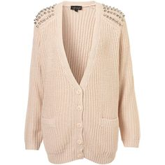 Knitted Stud Rib Cardigan ($96) ❤ liked on Polyvore