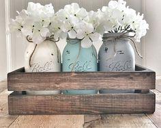 Pieza central del tarro de masón, decoración de tarro de masón, decoración de casa rústica, casa decoración, tarro de masón plantador caja