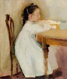 María Sorolla sitting by Joaquín Sorolla y Bastida