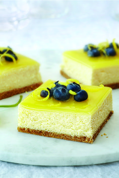 Double-Lemon Cheesecake Bars – These tangy-sweet squares are a marriage of two classic desserts—lemon bars and cheesecake. A luscious lemon glaze is the perfect finishing touch to this dessert recipe.