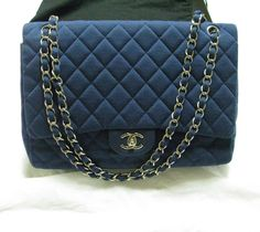 11880e8aa025 Authentic Chanel Blue Jersey 2.55 classic flap bag maxi single flap  CHANEL   ShoulderBag