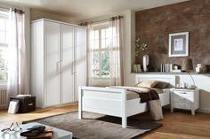 Schlafzimmer SAPHIR in Weiß Matt: Drehtürenschrank: 3-türig, ca. 150 x 222 x 62 cm, Einzelbett: ca. 100 x 200 cm, Nachtschrank: 49 x 54 x 43 cm