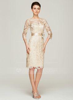 Etui-Linie U-Ausschnitt Knielang Spitze Kleid für die Brautmutter mit Perlstickerei Blumen (008062563) - JJsHouse