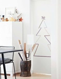 DIY Christmas tree out of silver wahi tape - minimalist Christmas tree - cute for the nursery also