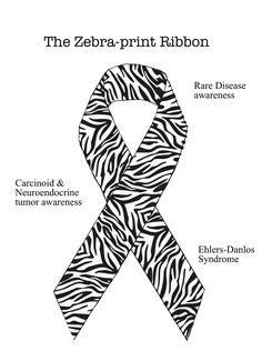 zebra ribbon - rare disease awareness... we get zebra pins every year since we are the leading facility for neuroendocrine tumors ( carcinoid cancer )