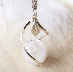 Real white feather necklace Glass globe by NewJewelleryStory